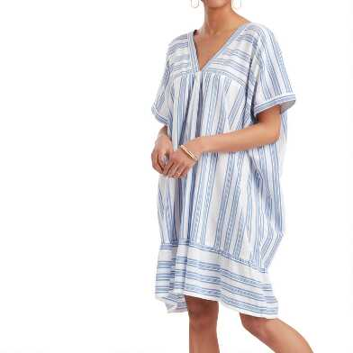 Blue and White Stripe Kaftan Dress