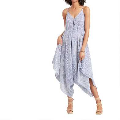 Blue And White Woven Striped Jumpsuit With Pockets