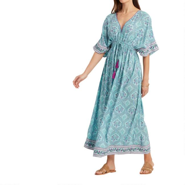 Blue And Purple Paisley Mira Kaftan Dress