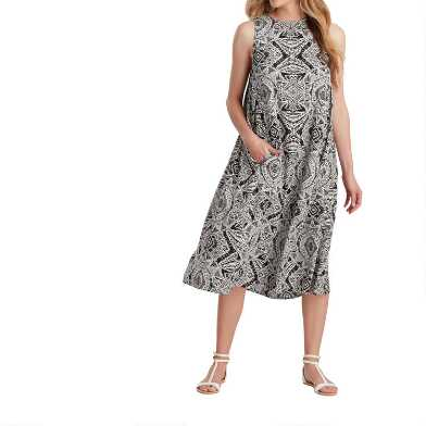 Black And White Abstract Sunburst Dress with Pockets