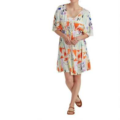 Short Multicolored Mosaic Mira Kaftan Dress