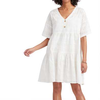 White Windowpane Block Print Aura Dress