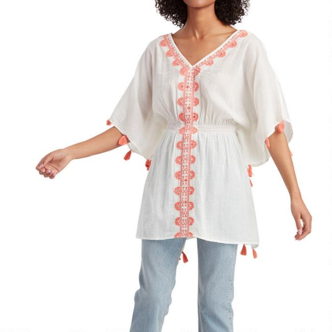 White And Coral Embroidered Fiesta Kaftan
