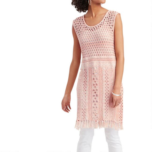 Coral Open Crochet Dress
