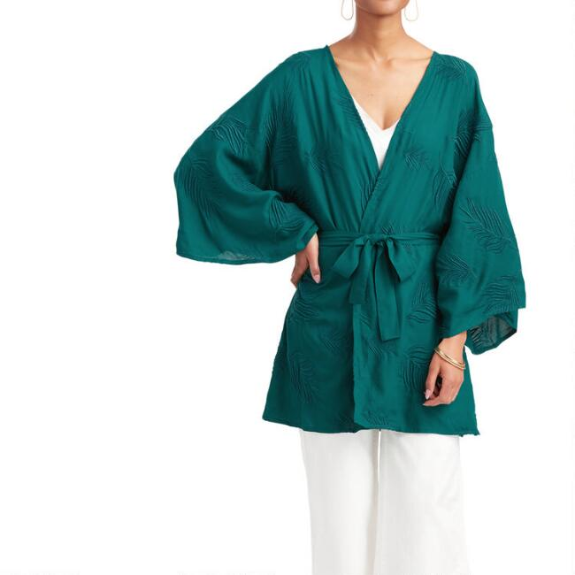 Teal Embroidered Palm Leaf Kimono