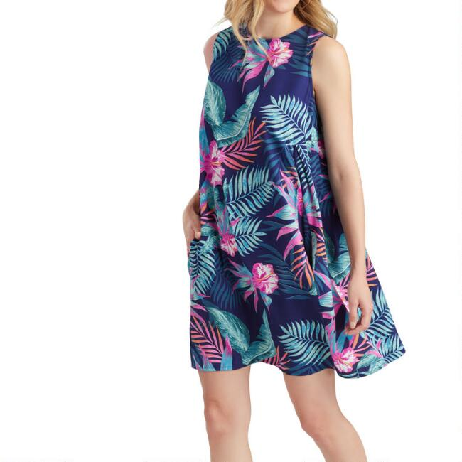 Multicolor Tropical Floral Dress With Pockets