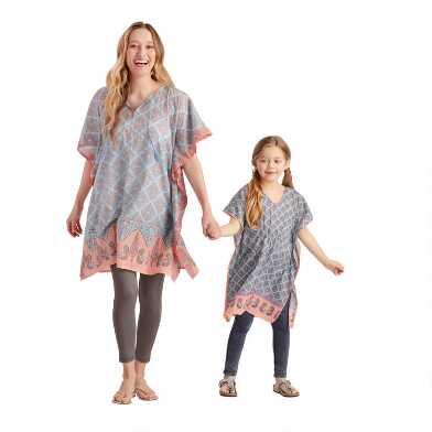 Coral and Blue Mama And Me Printed Kaftan Collection