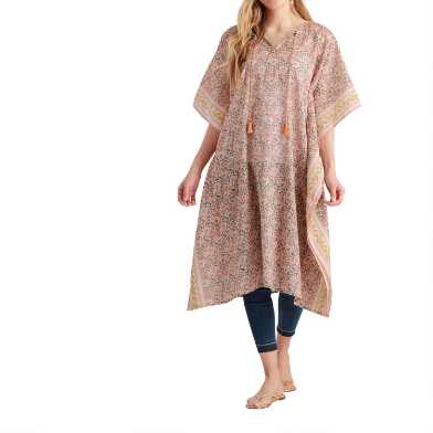 Coral and Yellow Floral Leslie Kaftan