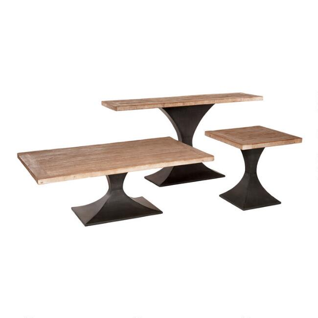 Reclaimed Pine and Metal Samuel Accent Table Collection