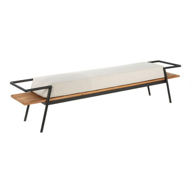 Fir Wood and Metal Taylor Bench with Cushion