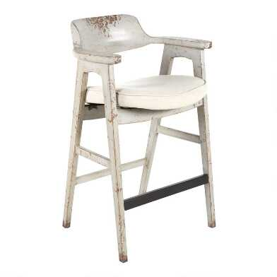 Antique Gray Wood Konrad Barstool
