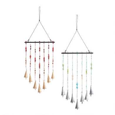 Bead And Bell Wind Chimes Set Of 2