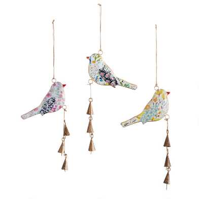 Metal Floral Patchwork Bird Hanging Decor Set Of 3