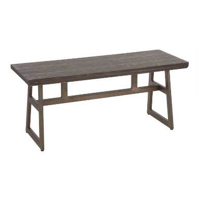 Wood and Metal Industrial Tristan Dining Bench