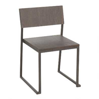 Wood and Metal Industrial Tristan Dining Chairs Set of 2