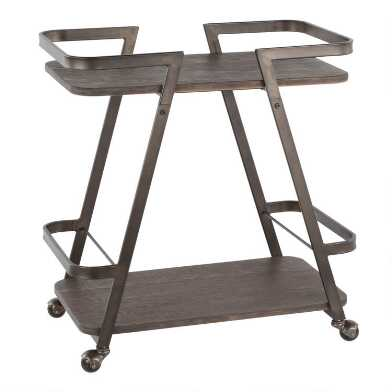 Bamboo And Metal Opal Bar Cart