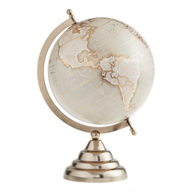 Taupe And Gold Globe On Stand