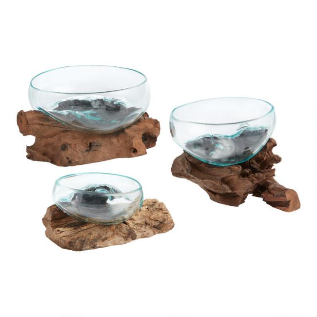 Natural Driftwood And Blown Glass Bowl