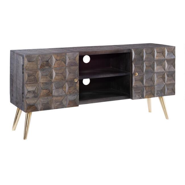 Smoke Gray Geometric Wood Scott Media Cabinet