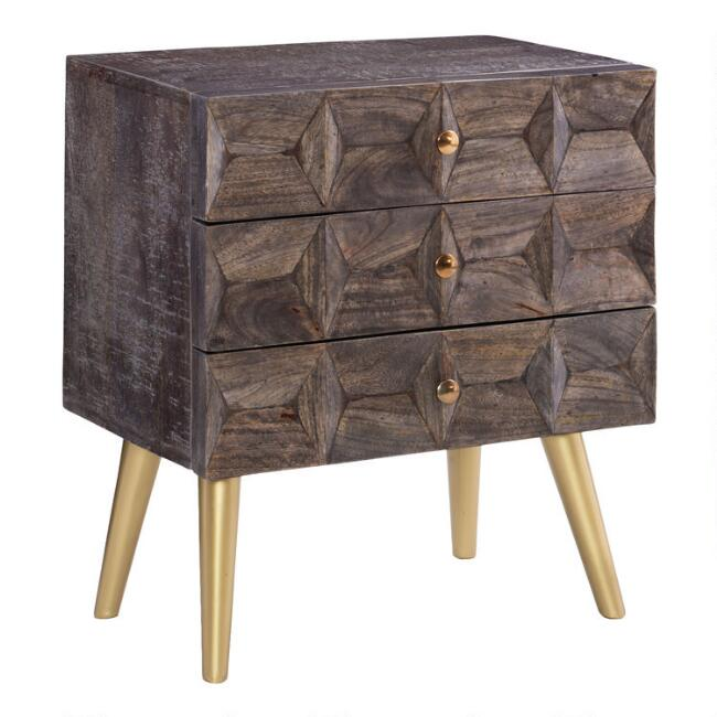 Smoke Grey Wood Geometric 3 Drawer Scott Chest