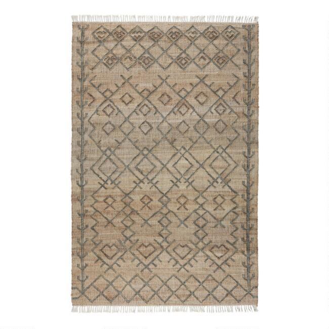 Natural And Sage Geometric Jute Accona Area Rug