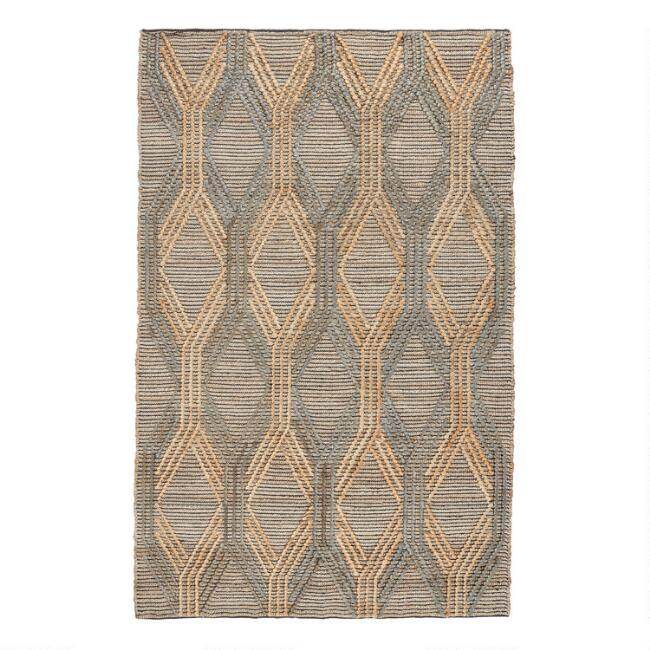 Natural And Blue Geometric Jute Sylmar Area Rug