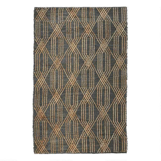 Charcoal Blue And Natural Geometric Jute Tustin Area Rug