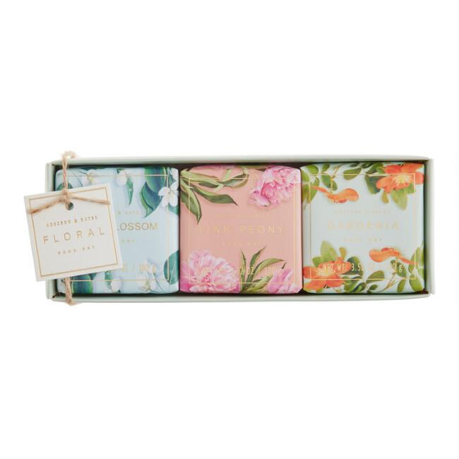 A&G Photographic Floral Bar Soaps 3 Piece Gift Set