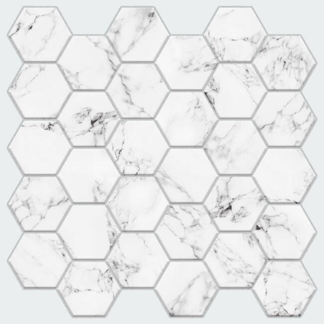 White Marble Honeycomb Peel and Stick Tiles