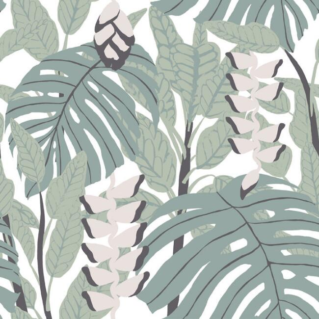 Finlayson Green and Pink Tropics Peel and Stick Wallpaper