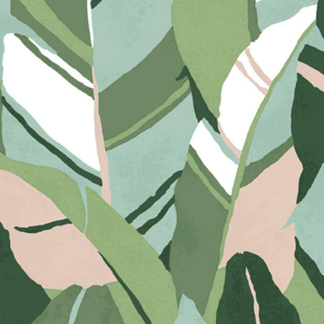 Green and Blue Hearts of Palm Peel and Stick Wallpaper
