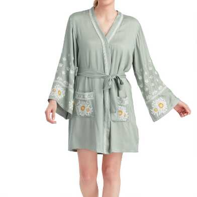Sage Floral Embroidered Marla Robe