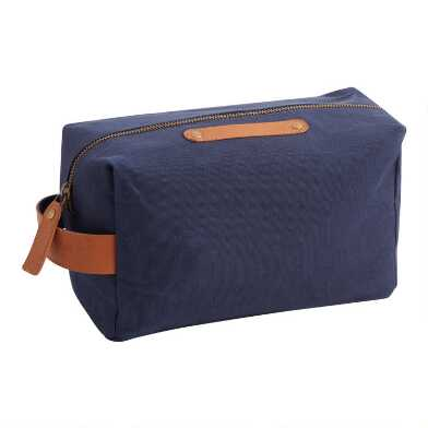 Navy Blue Dopp Kit with Leather Trim
