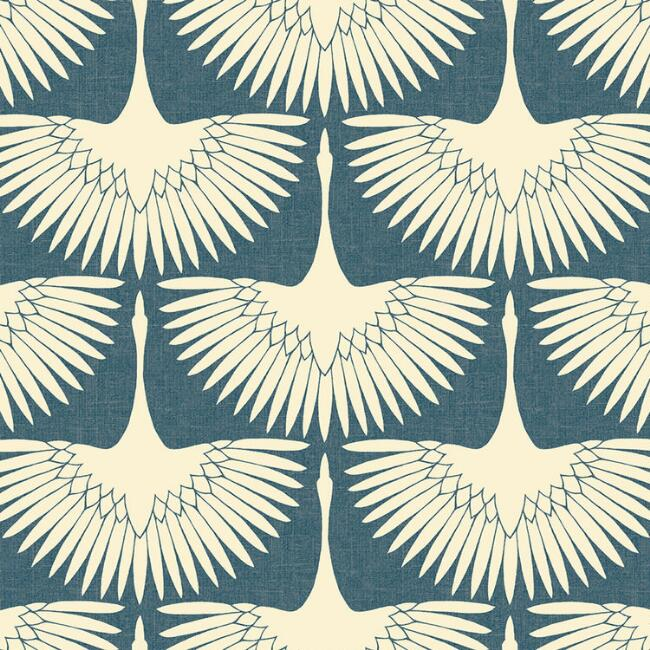 Blue and White Art Deco Cranes Peel and Stick Wallpaper
