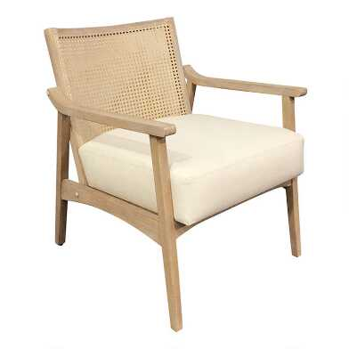 Wood and Linen Cane Back Jakob Armchair