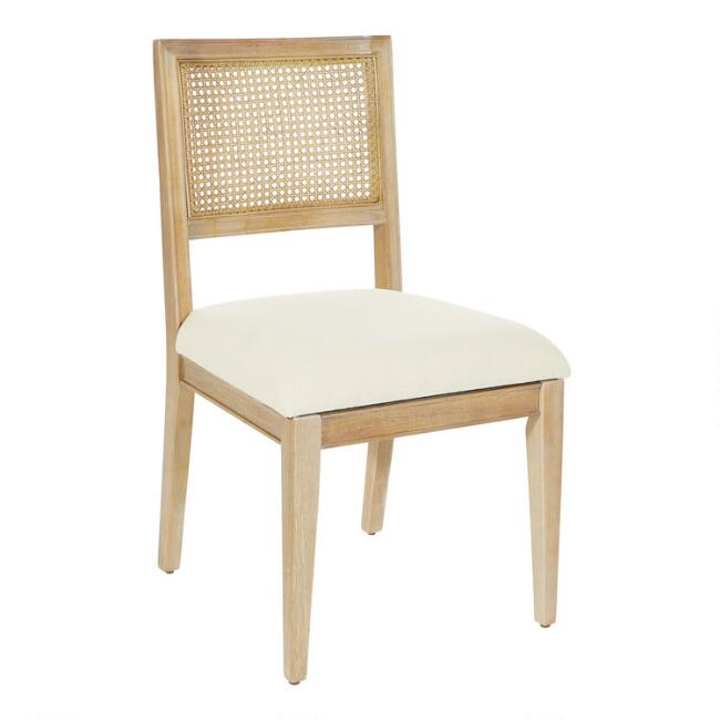 Wood and Linen Cane Back Jakob Dining Chairs Set of 2