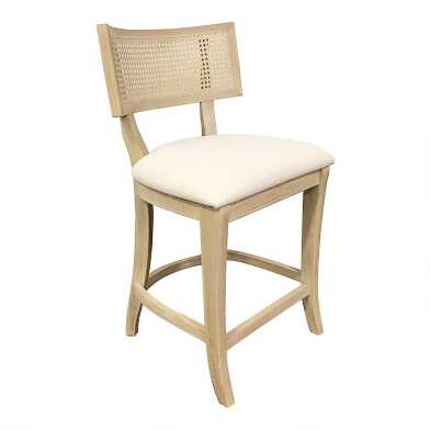 Wood and Linen Cane Back Jakob Counter Stool