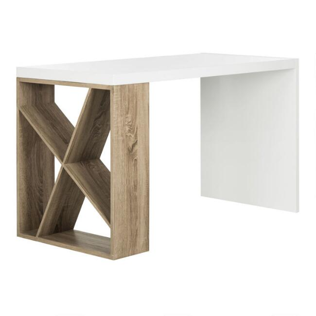 White and Gray Wood Whitney Desk with Side Storage