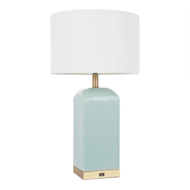 Aqua Ceramic And Metal Block Tessa Table Lamp With USB Port