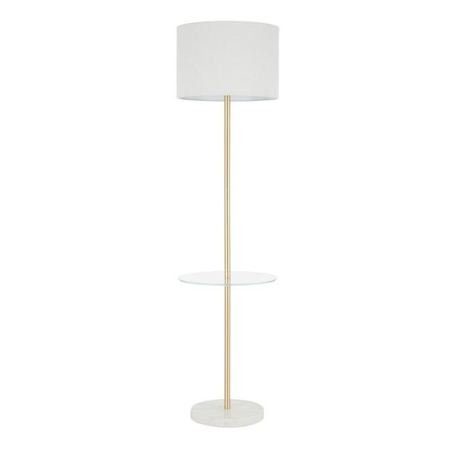 White Marble and Gold Lennox Floor Lamp with Table
