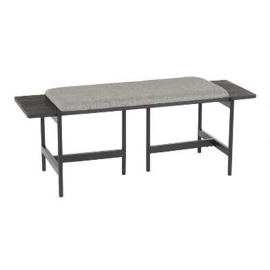 Metal And Wood Oswego Bench With Upholstered Seat