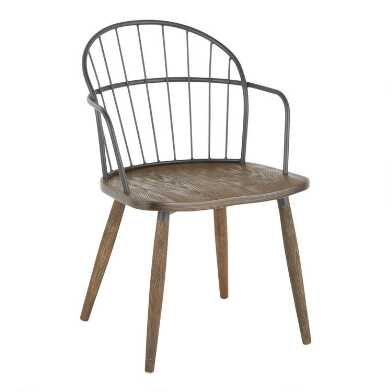 Black Metal And Walnut Melvin Dining Chair