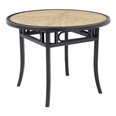 Round Black Wood and Cane Glass Top Dora Dining Table
