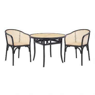 Black Wood and Cane Dora Dining Collection
