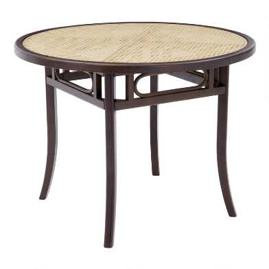 Round Walnut Wood and Cane Glass Top Dora Dining Table