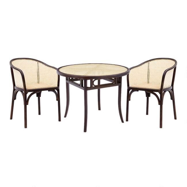 Walnut Wood and Cane Dora Dining Collection