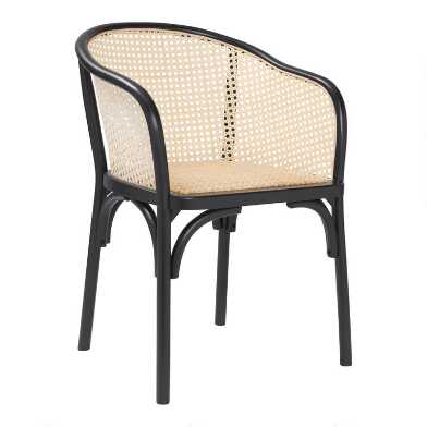 Black Wood and Rattan Dora Dining Armchairs Set of 2