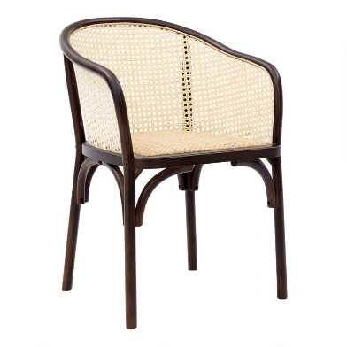 Walnut Wood and Rattan Dora Dining Armchairs Set of 2