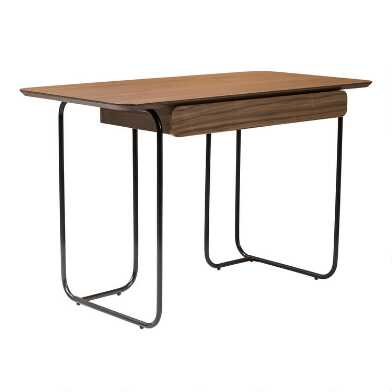 Walnut Wood and Black Metal Levante Desk