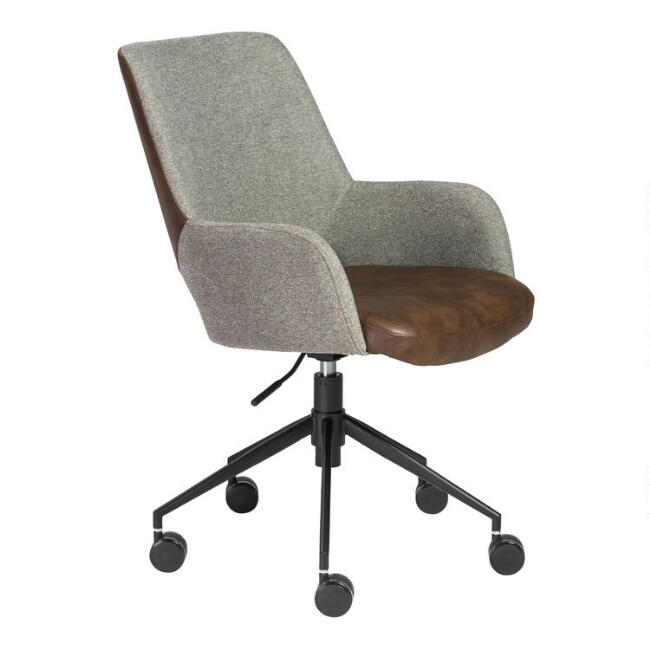Brown Leatherette and Gray Fiona Upholstered Office Chair